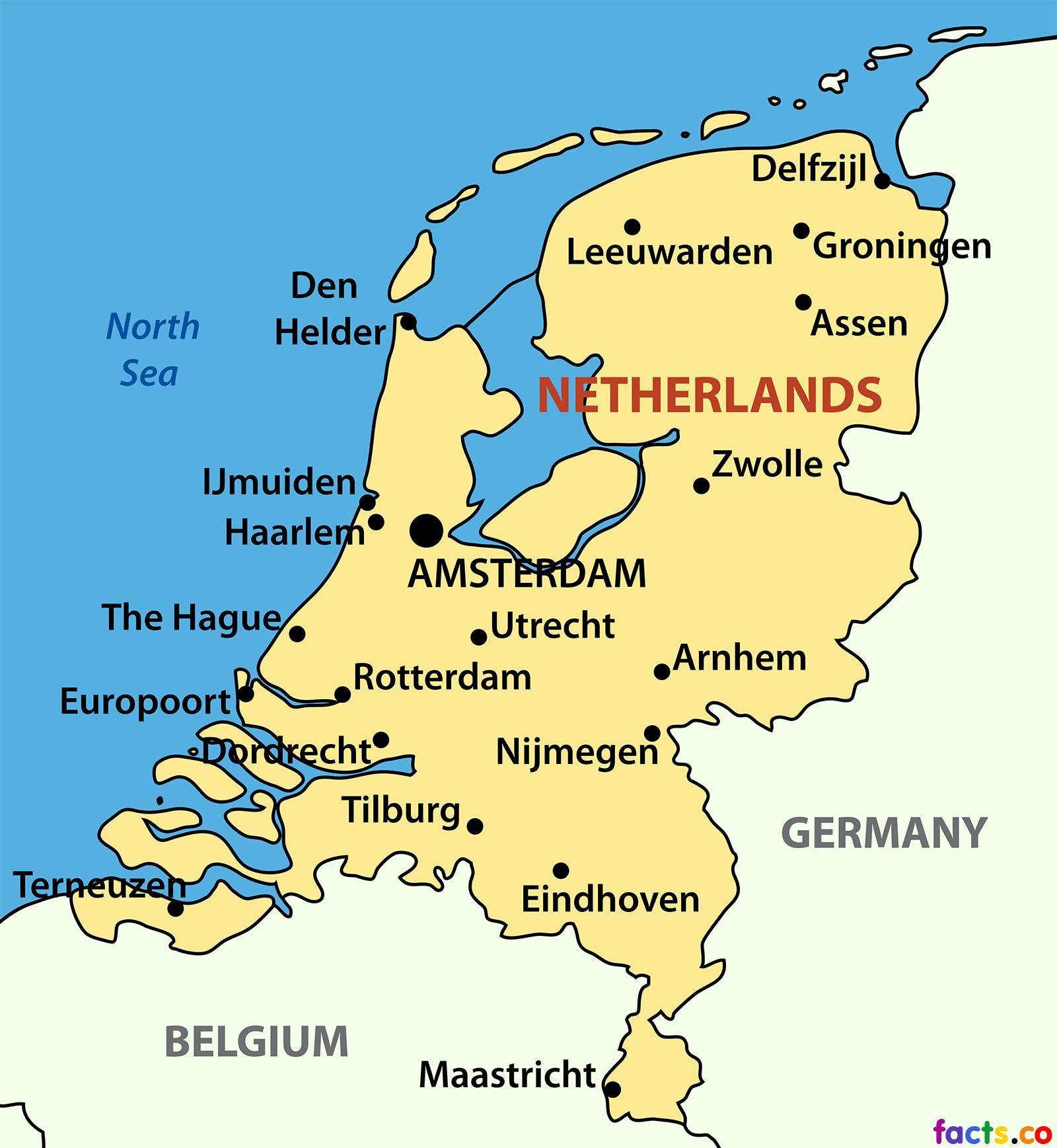 holland térkép Holland város térkép   Térkép Holland városok (Nyugat Európában