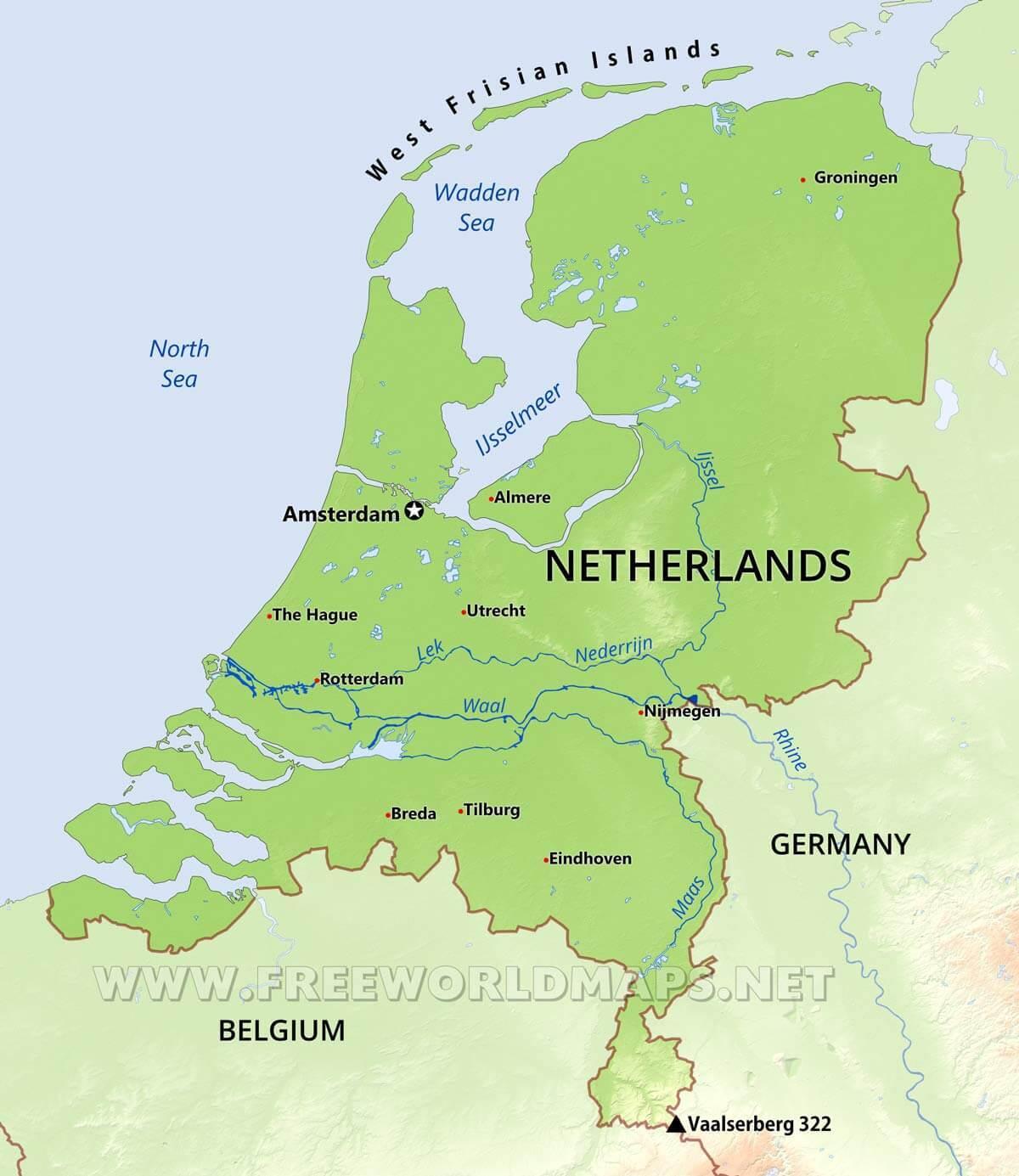 Hollandia Fizikai Terkep Fizikai Terkep Hollandia Nyugat