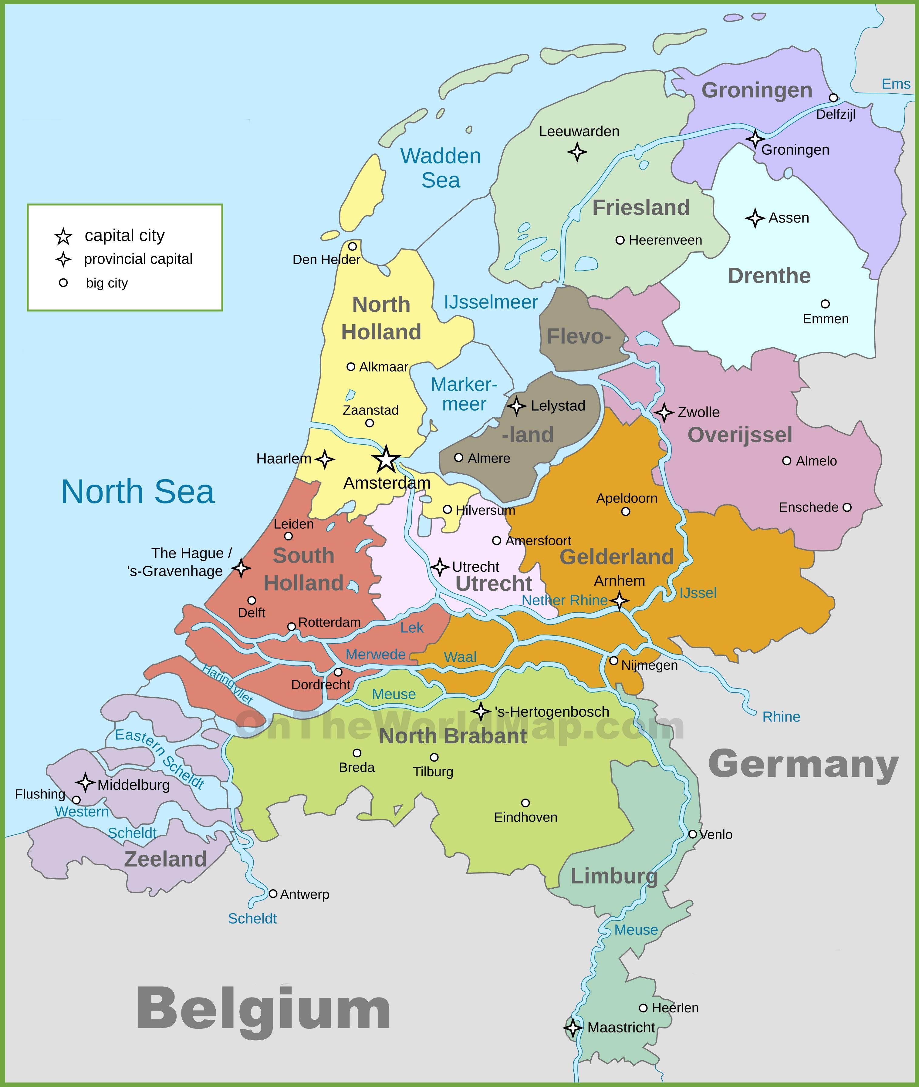 holland térkép Politikai térkép Holland   Politikai térkép Hollandia (Nyugat