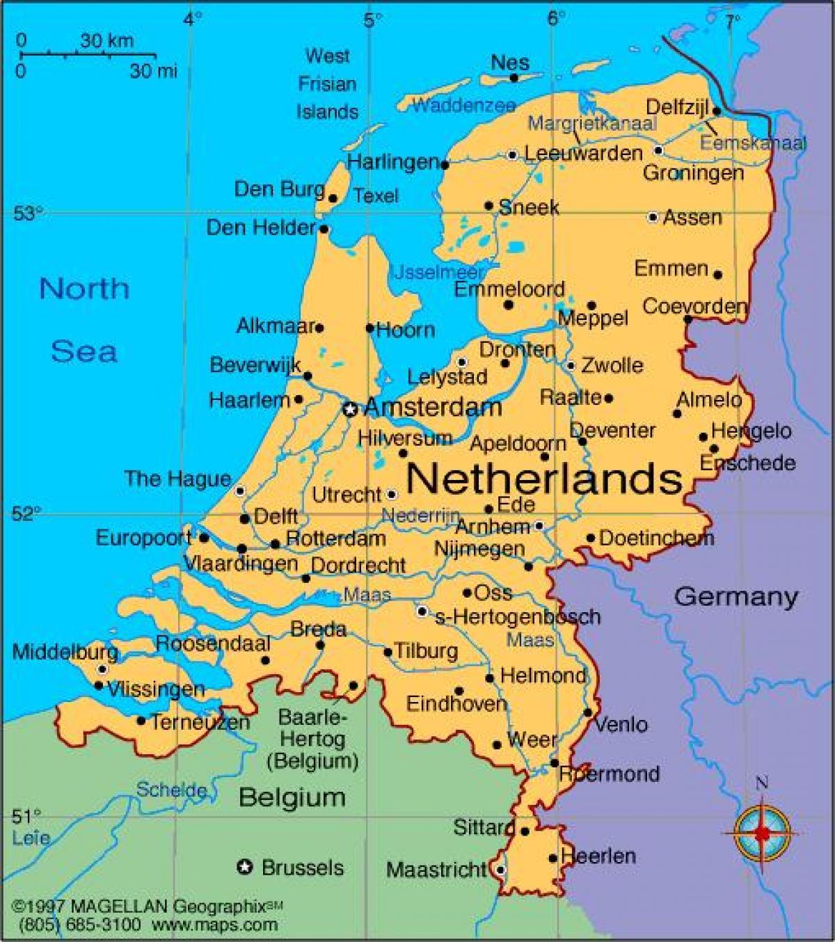 holland térkép Holland városok térkép   Térkép a Holland városokban (Nyugat